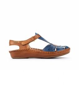 Sandalias de piel P. Vallarta 655-0575 azul