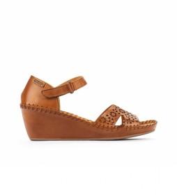 Sandalias de piel Margarita 943 marrón -Altura cuña: 5cm-