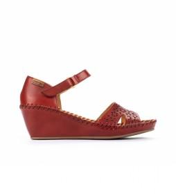 Sandalias de piel Margarita 943 rojo -Altura cuña: 5cm-