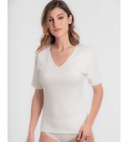Camiseta térmica de algodón manga corta blanco