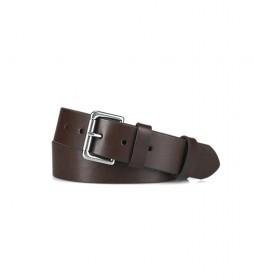 Cinturón de piel Roller Casual marrón