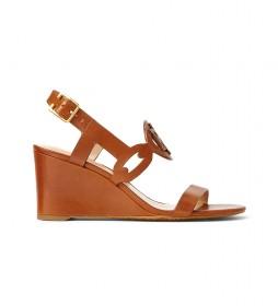 Sandalias de piel Amilea marrón -Altura cuña: 6,5 cm-