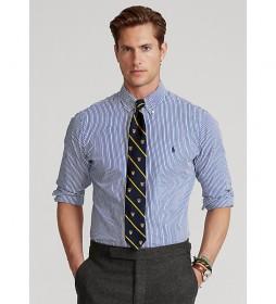 Camisa popelín a rayas azul y blanco