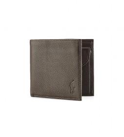Cartera de piel EU Bill marrón -9,5x10,8x1,3cm-