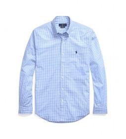 Camisa Camisa de Popelina de Cuadros Slim Fit azul