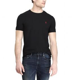 Camiseta de punto Custom Slim Fit negro