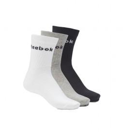 Pack de 3 Calcetines deportivos Active Core blanco, gris, negro
