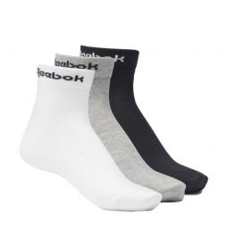 Pack de 3 Calcetines tobilleros Active Core blanco, gris, negro