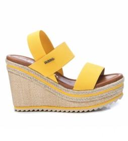 Sandalias 069619 amarillo -Altura cuña + plataforma: 10cm-