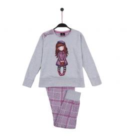Pijama Le Beret gris, lila
