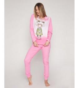 Pijama Lambkins rosa, blanco