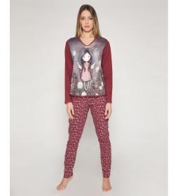 Pijama Little Wings burdeos, gris