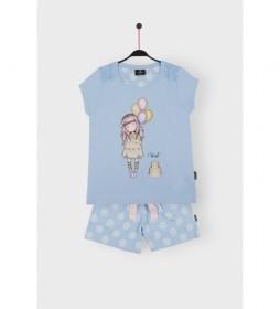 Pijama Manga Corta I Wish azul