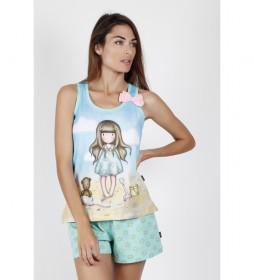 Pijama Tirantes Hello Summer azul
