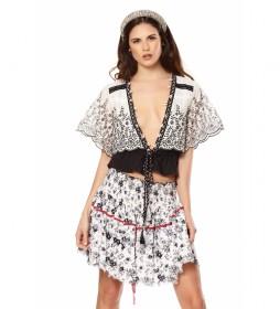 Minifalda Dulcinea blanco, negro