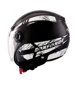 SHIRO HELMETS Casco jet SH 62 Oxford negro, blanco