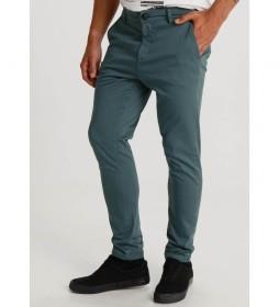 Pantalón Chino Saten Color Slim verde