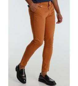 Pantalon Chino Saten Color Slim marrón