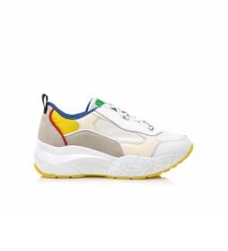 Zapatillas de piel 79816 blanco, multicolor