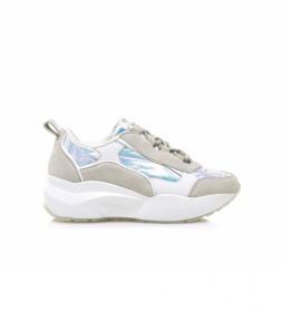 Zapatillas de piel 79816 blanco, beige