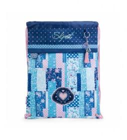 Mochila estilo Saco de Poliéster Estampado130041 azul -30x40x1cm-