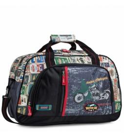 Bolsa Infantil de Deporte de Lona Estampada Moto. 130545 negro -40x28x20cm-