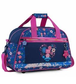 Bolsa para Niña de Gimnasio Personalizada con Motivos Florales 131545 azul marino -45x28x20cm-