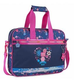 Cartera Infantil Niña Estampado floral con purpurina 131506 azul marino -39x29x6cm-