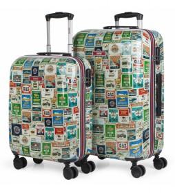 Juego de 2 maletas Kiev 130500 verde, multicolor - 44x67x24cm -