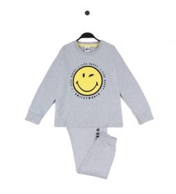 Pijama Family gris jaspeado