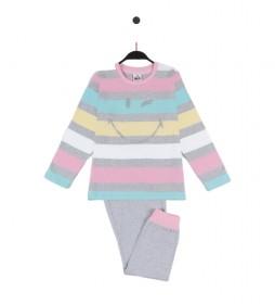 Pijama Pink gris, multicolor