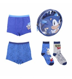 Pack 2 Boxer 2 Calcetines Sonic azul