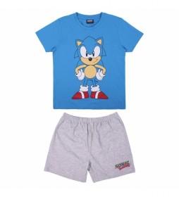 Pijama Corto Single Jersey Sonic azul, gris