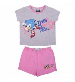 Pijama Corto Single Jersey Sonic gris, rosa