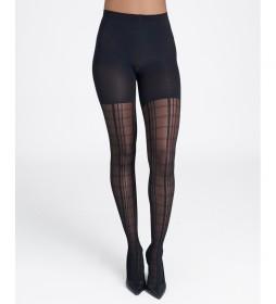 Panty Fantasía de Cuadros 20235R negro