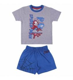 Pijama Corto Single Jersey Spiderman gris, azul