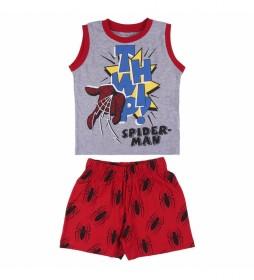 Pijama Corto Tirantes Single Jersey Spiderman rojo