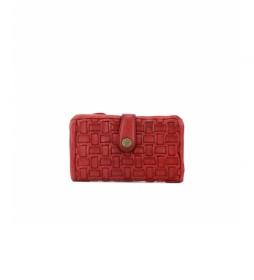 Cartera de piel trenzada MMST42711RO rojo -8x15x2cm-