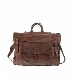 Maletín de piel convertible en mochila BHST00101MA  marrón oscuro -30x42x10cm-