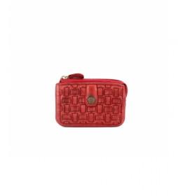 Portamonedas de piel trenzada MMST42713RO rojo  -7x11x1cm-