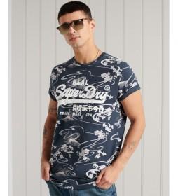 Camiseta con estampado integral y Vintage Logo marino