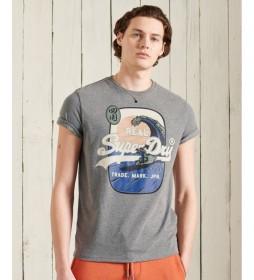 Camiseta de Gramaje Estándar Vintage Logo Itago gris