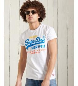 Camiseta Tricolor con Logo Vintage blanco