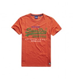 Camiseta Tricolor con Logo Vintage naranja