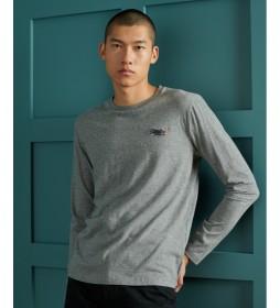 Camiseta Vintage Bordado de Algodón Orgánico gris