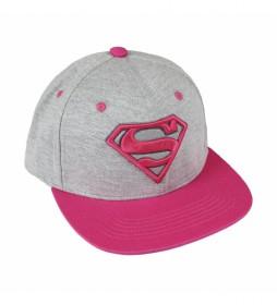 Gorra visera plana Superman fucsia