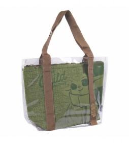 Bolso Asas Transparente Baby Yoda verde, marrón -45x34x13cm-