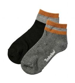 Pack de 2 Calcetines Metallic Anklet gris, negro