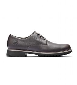 Zapatos de piel Stormbucks Plain Toe Oxford marrón oscuro / Rebotl