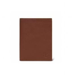 Cartera de piel Vertical marrón -10x12,7cm-